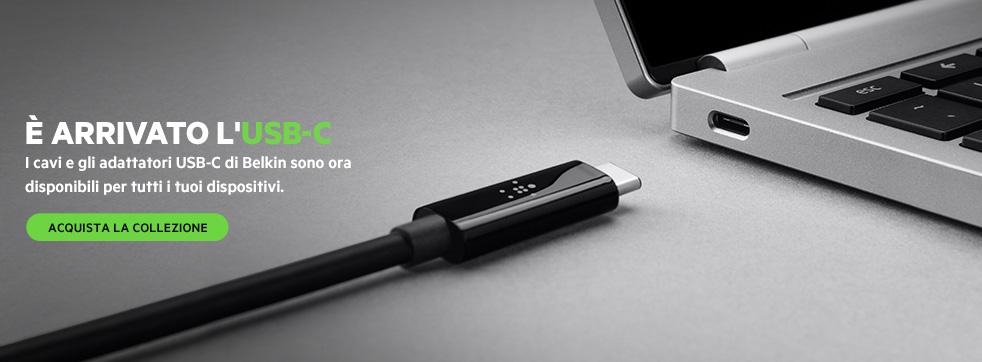 � ARRIVATO L'USB-C. I cavi e gli adattatori USB-C di Belkin sono ora disponibili per tutti i tuoi dispositivi. ACQUISTA LA COLLEZIONE
