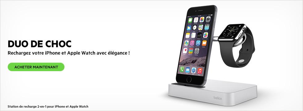 DOUBLE C�BLES D'ALIMENTATION. Station de recharge pour Apple Watch + iPhone.