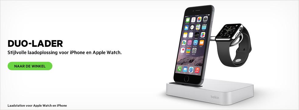 DUO-LADER. Laadstation voor Apple Watch en iPhone.