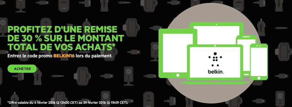 Profitez d'une remise de 30 % sur le montant total de vos achats. Pour cela, il vous suffit de saisir le code BELKIN16 lors de votre commande.