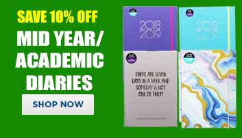 Save up to 10% off Mid year/academic diaries